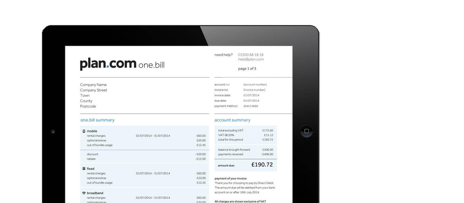 plan bill transparent